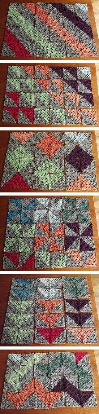 Six different patterns from the same two-color granny squares.