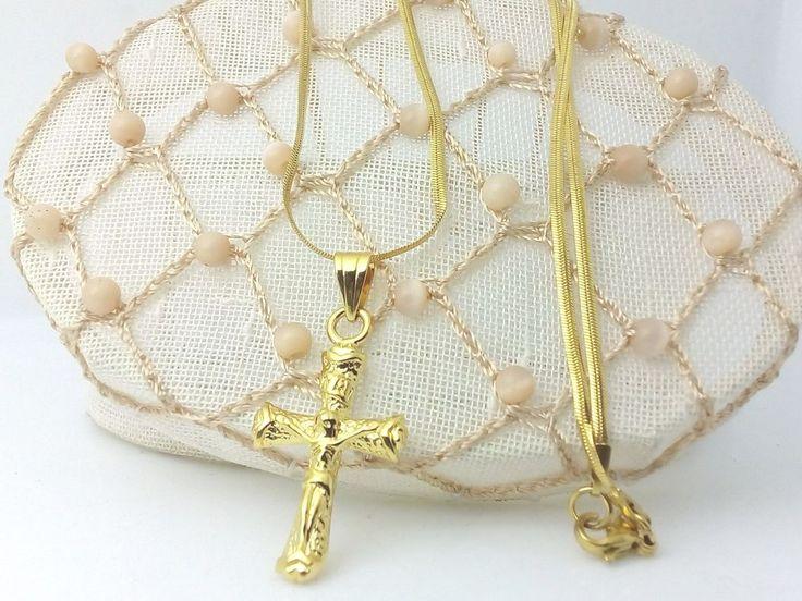 Collana Ciondolo Croce Oro Gioielli Unisex Uomo Donna Crocifisso con cristo  | eBay