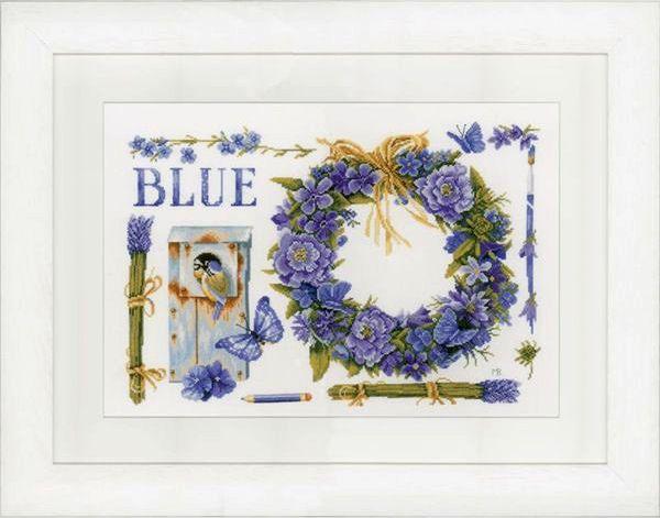 Borduurpakket Lavendelkrans met Pimpelmees : Marjolein Bastin - De Spinnerij borduurpakketten