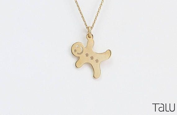 Gold Biscuit Necklace Christmas Necklace Cute Jewelry 14k