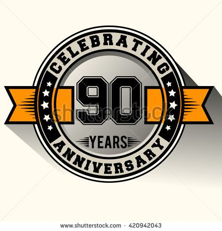 Celebrating 90th anniversary logo, 90 years anniversary sign with ribbon, retro design. - stock vector