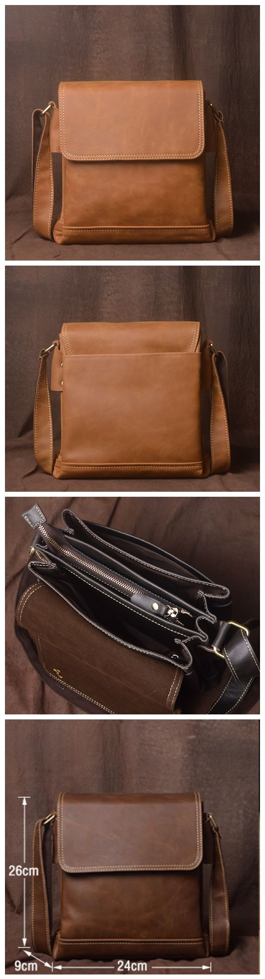 Genuine Leather Messenger Bag, Leather Crossbody Bag for Men, JZ013