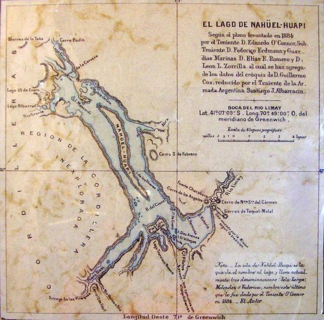 Mapa de 1884 lago Nahuel Huapi, Patagonia Argentina.