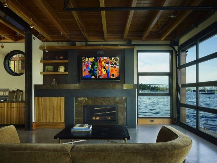 Floating Houses And Interiors   Living Area Of Wooden Floating House With  Modern Interior
