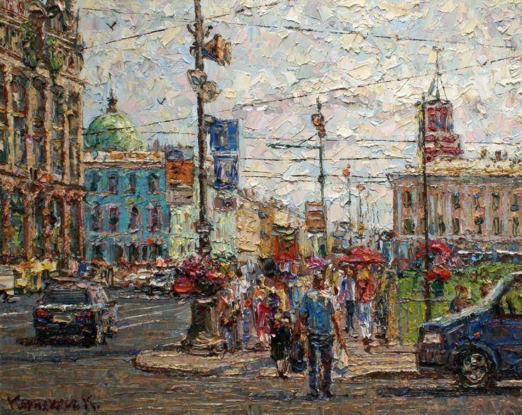"Saint Petersburg by Kirill Karnaukhov_Карнаухов Кирилл, "" Невский проспект"", холст/масло, 40/50, 2013."