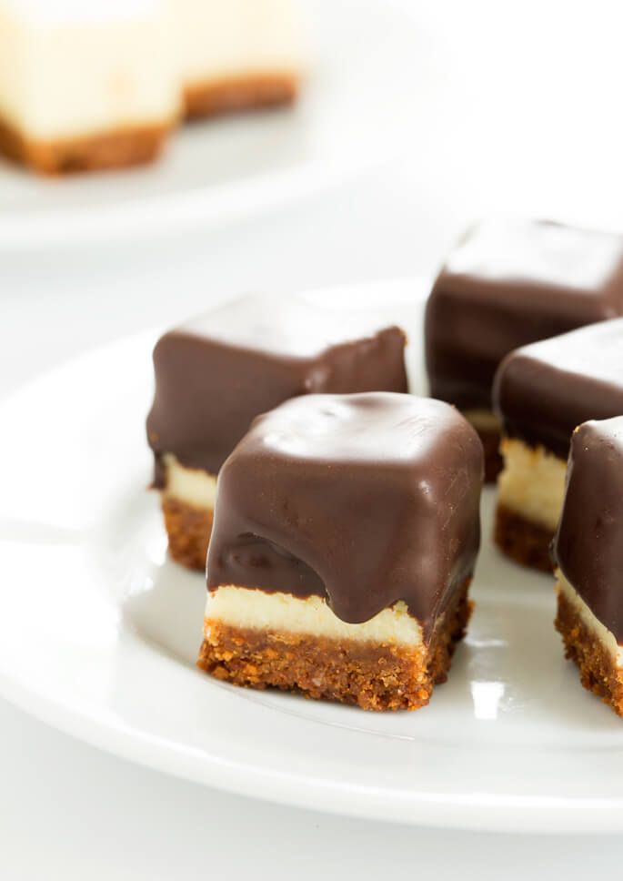 Cheesecake bites are nothing more than little chocolate-covered bites of creamy cheesecake. No special equipment and no water bath needed, since chocolate covers all. SO good!