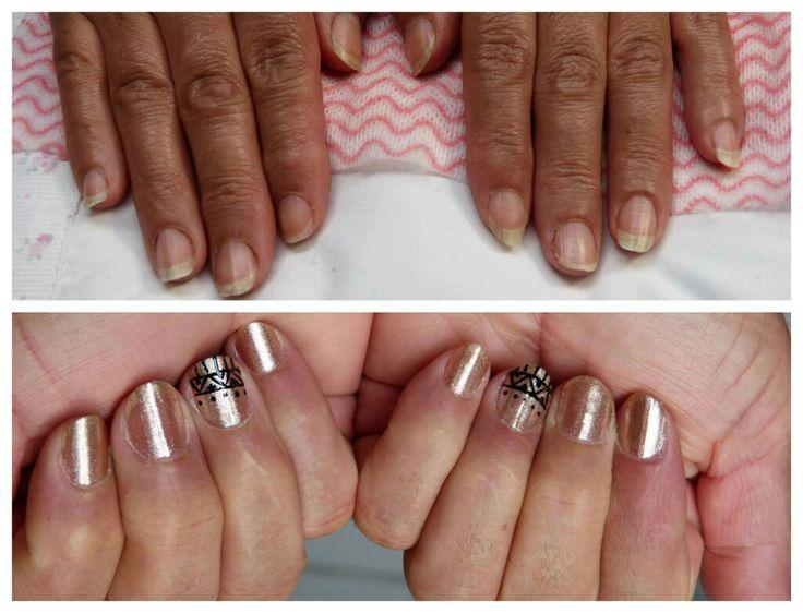 Manicure Dorada con Diseño Étnico!