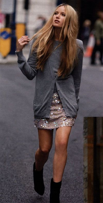 cashmere + sequins: Outfits, Sweaters, Fashion, Style, Sequins Skirts, Dresses, Sparkly Skirt, Boots, Grey Cardigans