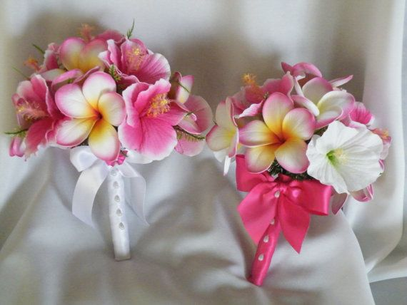 Frangipani and Hibiscus Bouquet Hot Pink Destination Beach Wedding on Etsy, $77.94