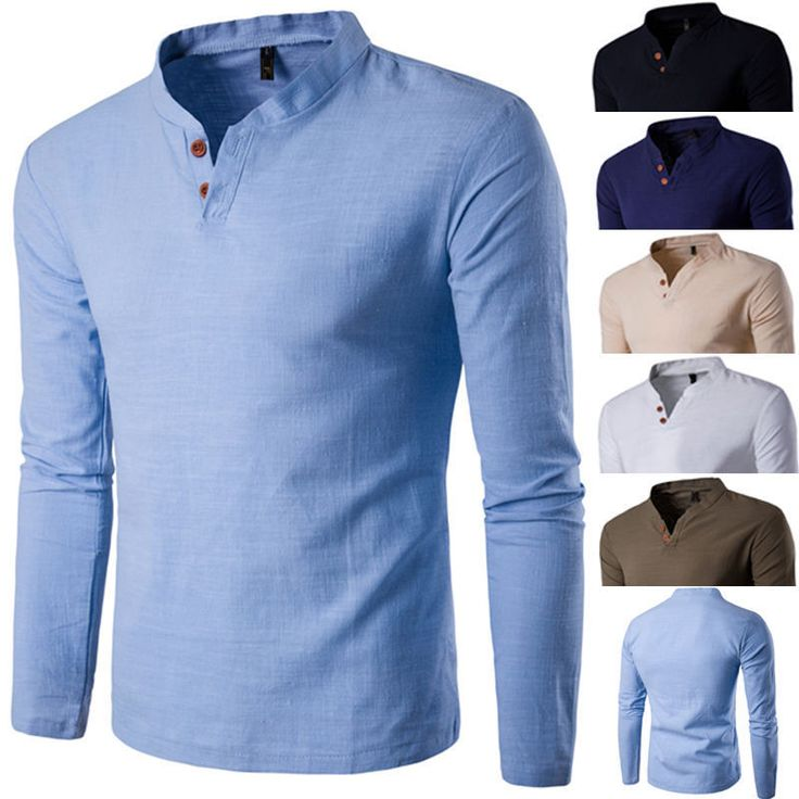 2018 Fashion Men Stylish Long Sleeve Shirt V-neck Casual Slim Fit Polo Tee Shirt | eBay
