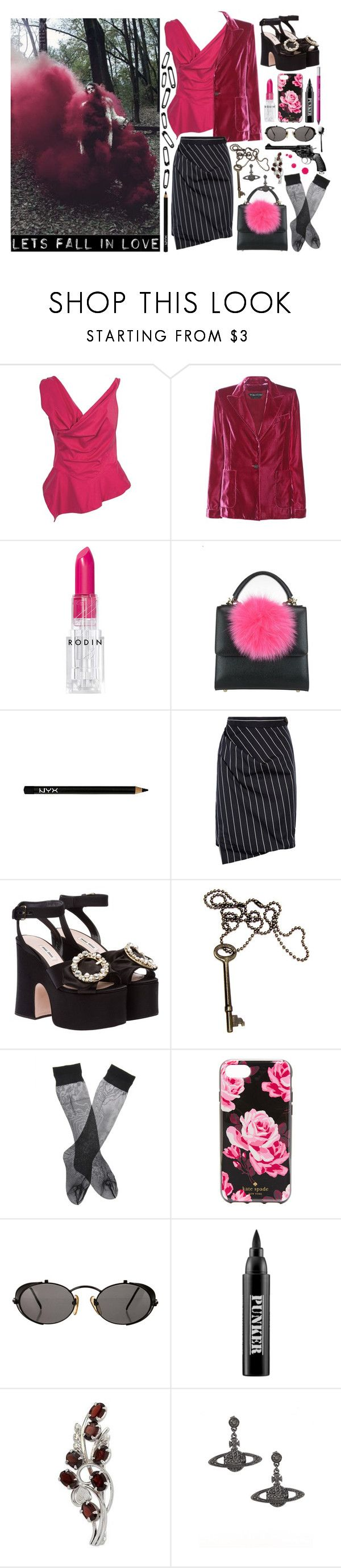 """""""I gotta kill you, my love"""" by nothingisnormal ❤ liked on Polyvore featuring Vivienne Westwood, Tom Ford, Brandy Melville, Rodin, Les Petits Joueurs, NYX, Vivienne Westwood Anglomania, Miu Miu, Kate Spade and Jean-Paul Gaultier"""