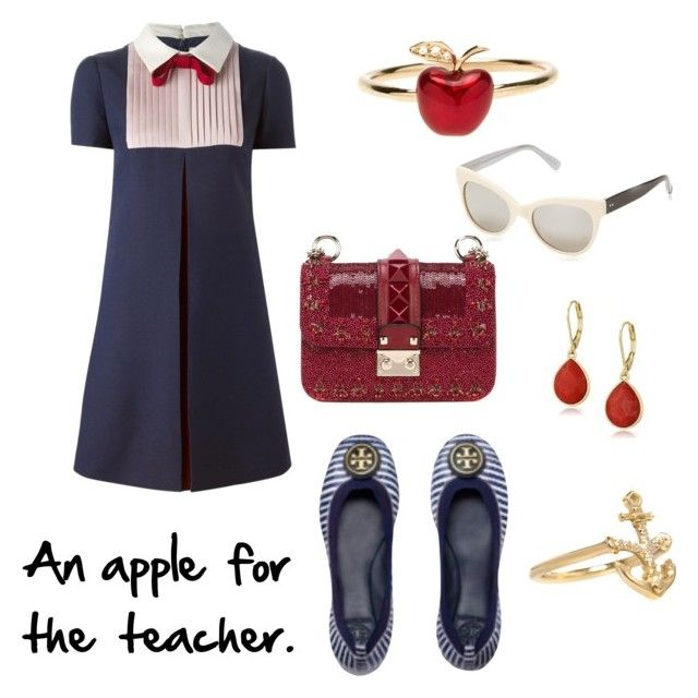 """An apple for the teacher."" by lilithowl on Polyvore featuring Valentino, Alison Lou, Vintage America, KamaliKulture, Tory Burch and Isabelle Rowe"