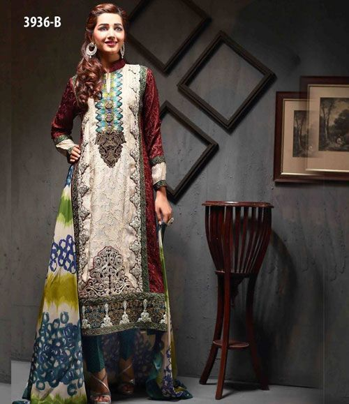 Tawakkal Artistry Chiffon Suit Collection 2015 3936_B