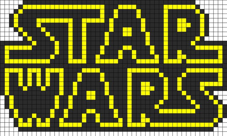 Star Wars Logo Perler Bead Pattern.  I need to try this at camp with the kids.