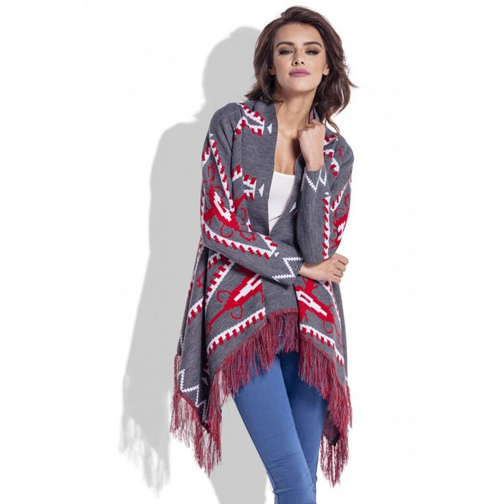 Cardigan de dama cu imprimeu aztec franjurat gri inchis  #cardiganedama #cardiganaztec #cardigantricotat