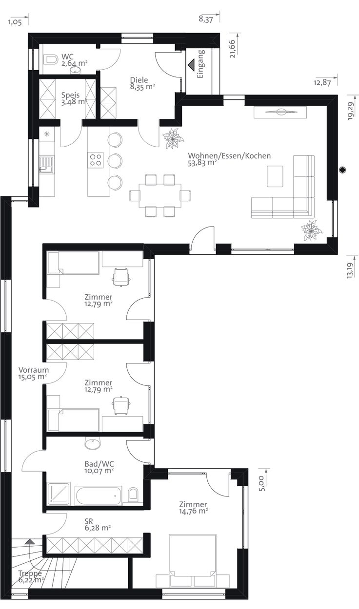 Flach146 grundriss eg home pinterest bungalows for Einfamilienhaus l form