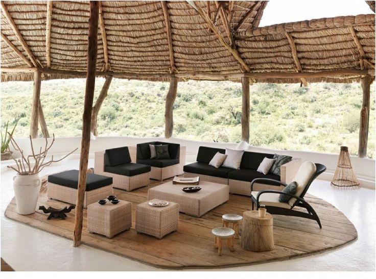 Captivating Modern Patio Furniture Set In Black And Light Tone A Set Of Wood Furniture  Medium Toned
