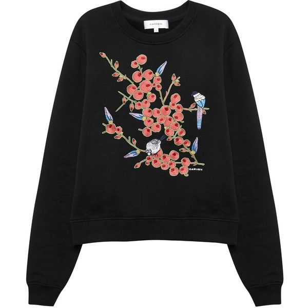 Carven Black embroidered cotton sweatshirt found on Polyvore featuring tops, hoodies, sweatshirts, sweaters, sweatshirt, cotton sweatshirts, embroidery top, embroidered cotton top, embroidered sweatshirts and embroidered tops