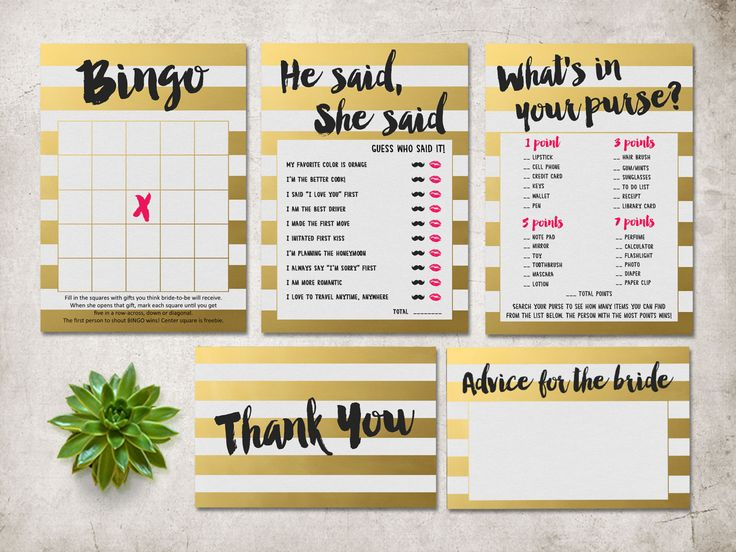 Bridal Shower Games Printable, Gold Bridal Shower Games Pack, Digital File - Gold Stripes Games, INSTANT DOWNLOAD - pinned by pin4etsy.com