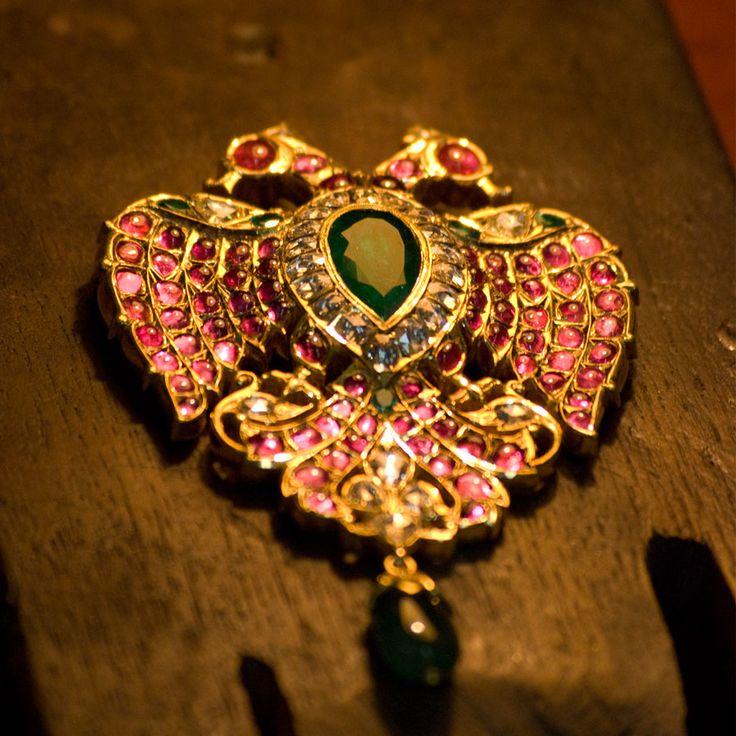 Ganda Berunda- Ganjam logo in 22 kt yellow gold with Benaras cut diamonds, Emeralds and Burmese rubies. Family archives. Not for sale