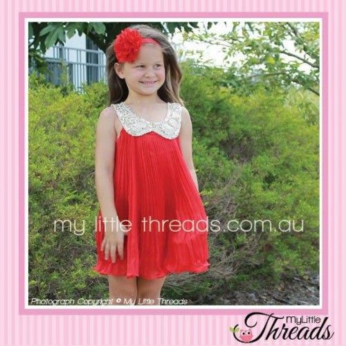 Chiffon Dress with Sequin Collar Red