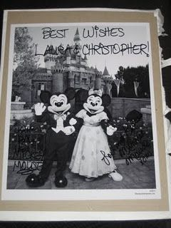 If you send Mickey and Minnie an invitation to your wedding, they'll send you an autographed photo and pin. Hehe that'd be cute    The Magic Kingdom  C/O Mickey & Minnie Mouse  1675 N Buena Vista Drive  Lake Buena Vista, FL 32830    Doing it.