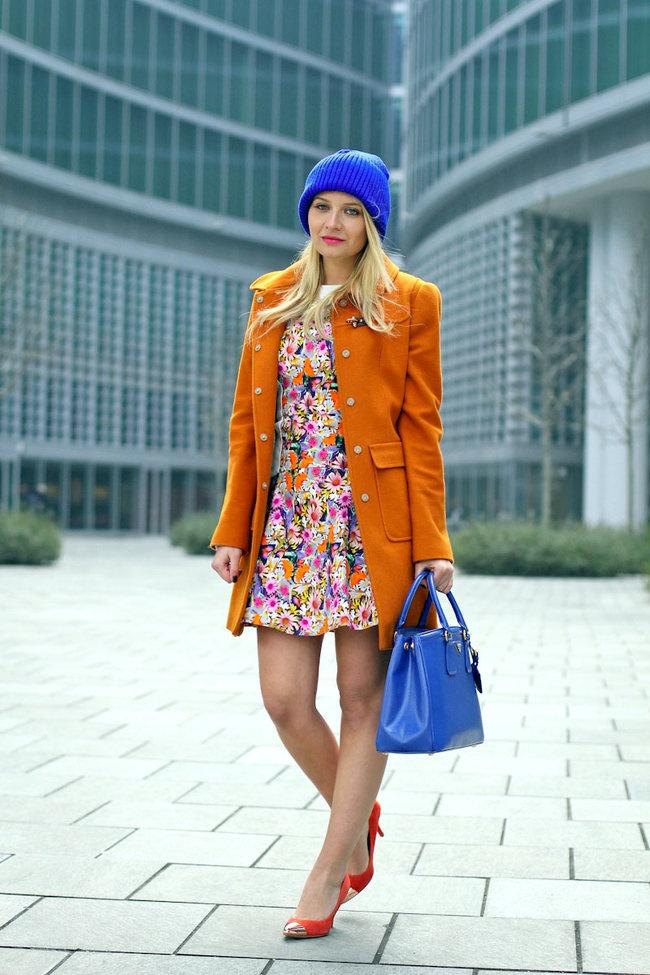 Orange jacket, floral dress (love), purple beanie & purple purse