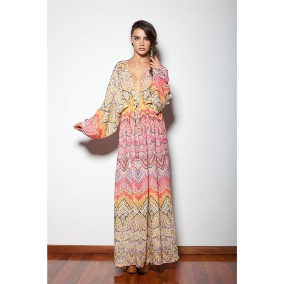 Colourful Bohemian Hippie Maxi Kaftan Dress Boho by GoldenDreamers