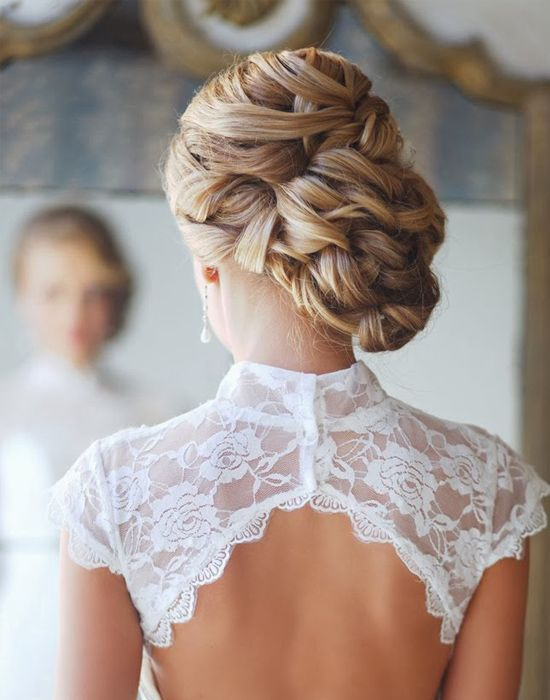 This is the perfectly polished look for a bride with variation in her hair color. The weaving showcases the lighter and darker pieces beautifully and keeps everything tamed for the entire day!