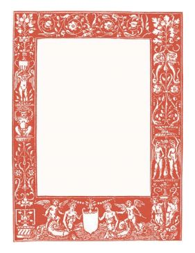 This classical red border features intertwined vines and several of mythological characters in reds. Reminiscent of Greek and Roman times. Free to download and print.