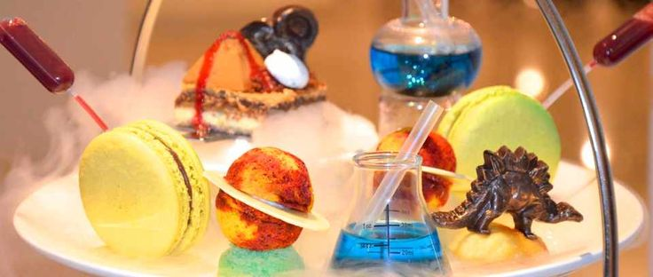Read our review of the slightly bizarre (but brilliant) 'science afternoon tea' at The Ampersand Hotel. Look out for chocolate dinosaurs, cake planets with white chocolate planetary rings, and mango mousse volcanoes.