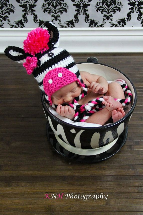 Crocheted Zebra Hat - SOOO cute!