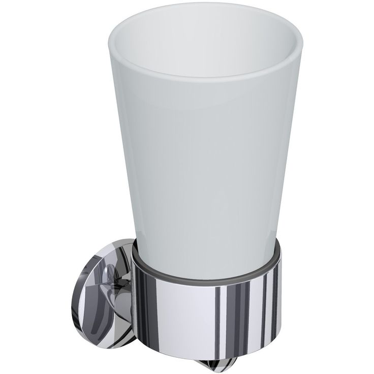 BR Miami Wall Frosted Glass Toothbrush Toothpaste Holder Bathroom Tumbler, Brass