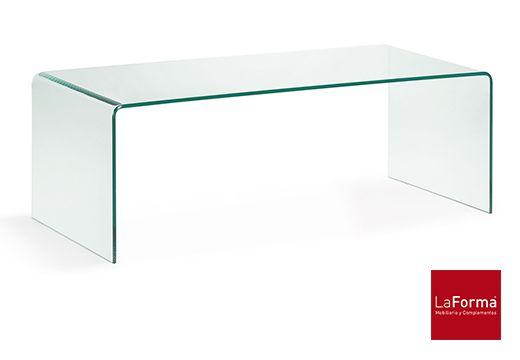 MESA DE CENTRO BURANO Mesa de centro de cristal templado transparente. Med: 1.10 x 0.50mt