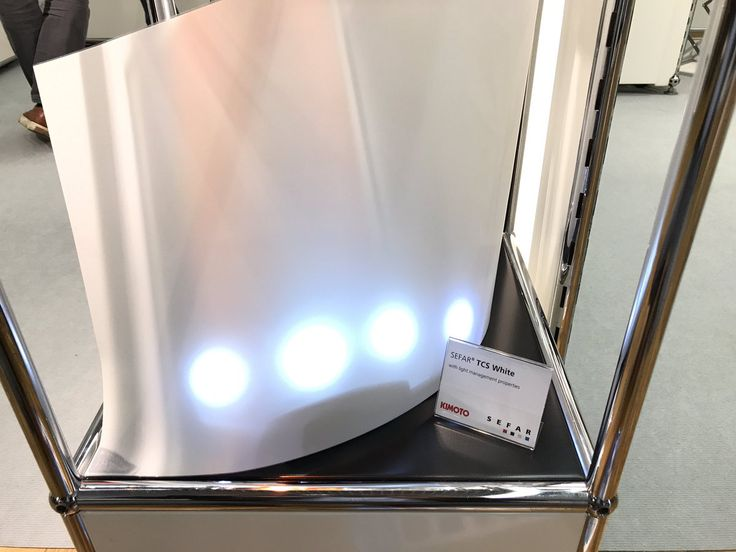 SEFAR TCS conductive mesh laminated with Kimoto diffuser and carrier film for lighting applications during LOPEC show in Munich