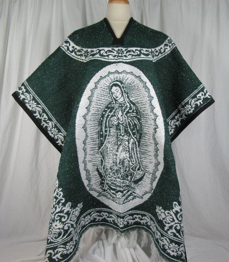 Mexican Heavy Blanket PONCHO ~Virgin Mary~ Virgen De ...