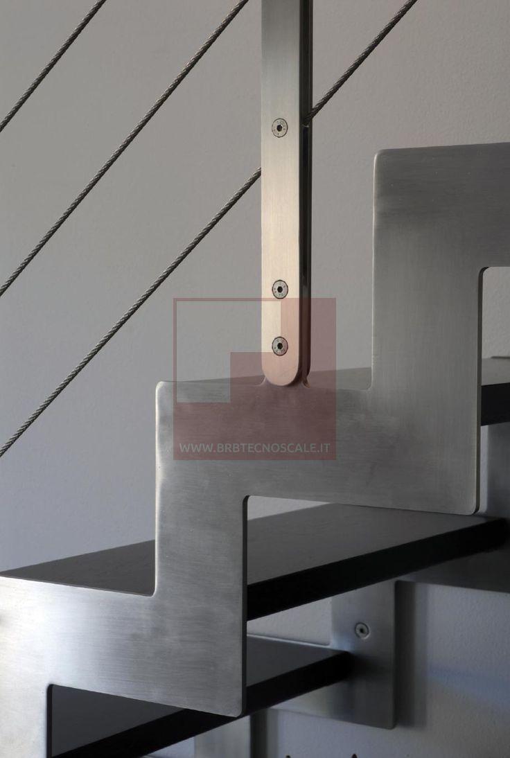 BRB TECNOSCALE - TIMOX - Scala con struttura portante a doppia fascia sagomata al laser acciaio inox satinato sp. 10 mm...