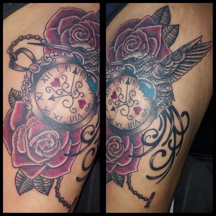 mechanical humming bird, clock and roses  tattoo