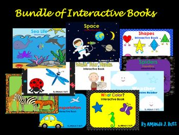 Bundle of Interactive Readers - Great Deal! Readers included:  Space; Insects; Shapes; Ocean Sea Life; A Trip to the Zoo; Transportation; What Color?; Prepositions - Where is the Spider? Washing Hands Routine; Weather; Special Education; Autism; Speech Therapy; Preschool; Kindergarten; Amanda Butt; Teachers Pay Teachers;