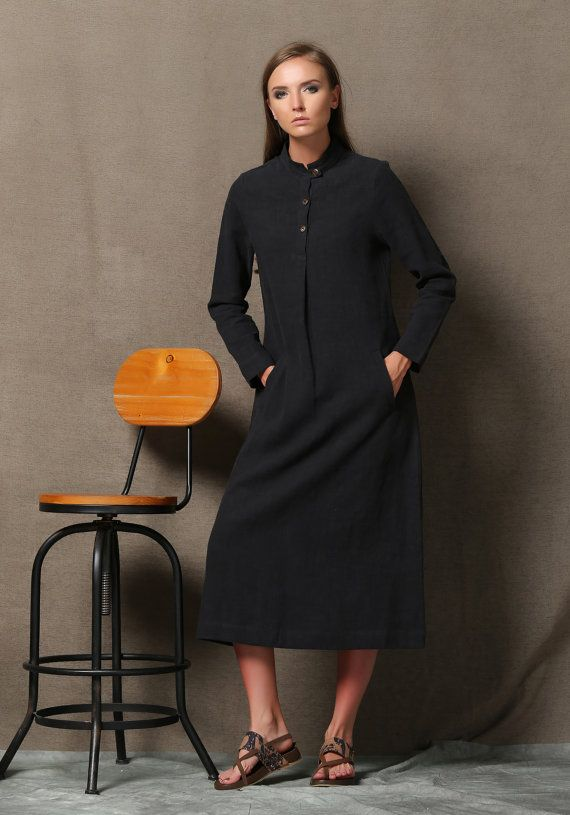Black Linen Dress  Comfortable Casual Everyday Long by YL1dress
