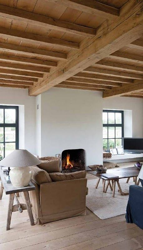 Beta Plus interior, traditional living room, exposed beams, white plastered walls