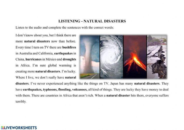 Natural Disasters Online Worksheet And Pdf Natural Disasters Disasters English As A Second Language Esl