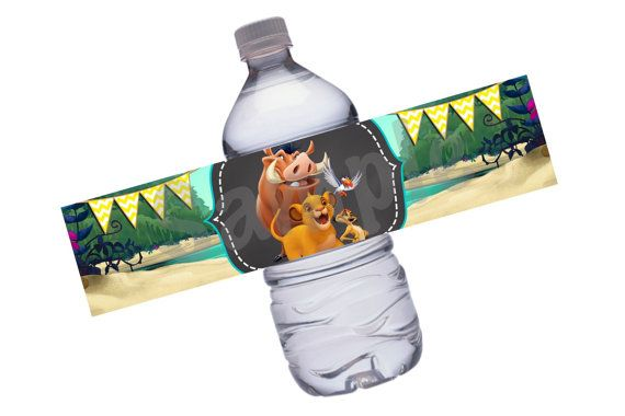 This listing is for the instant download of Lion King water bottle labels. When purchasing this item, you will receive one 8.5 x 11 JPEG file, which includes 5 water bottle labels measuring 8.5 x 2. This listing is for the digital design only, which can be printed out for personal use. Do not distribute or resell. Matching invitations: https://www.etsy.com/listing/233306575/lion-king-birthday-invitation-lk01?ref=shop_home_active_20 Matching cupcake toppers &#...