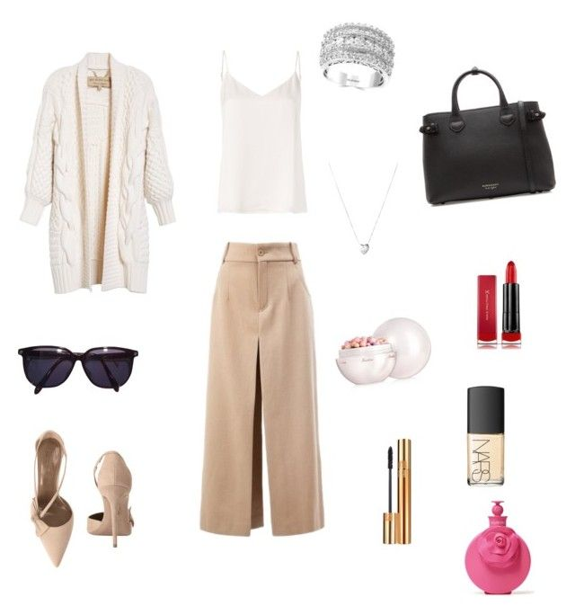"""""""Untitled #62"""" by portuguesegreeneyes on Polyvore featuring Chloé, Burberry, L'Agence, Aquazzura, Sonia Rykiel, Links of London, Valentino, Effy Jewelry, Max Factor and Guerlain"""