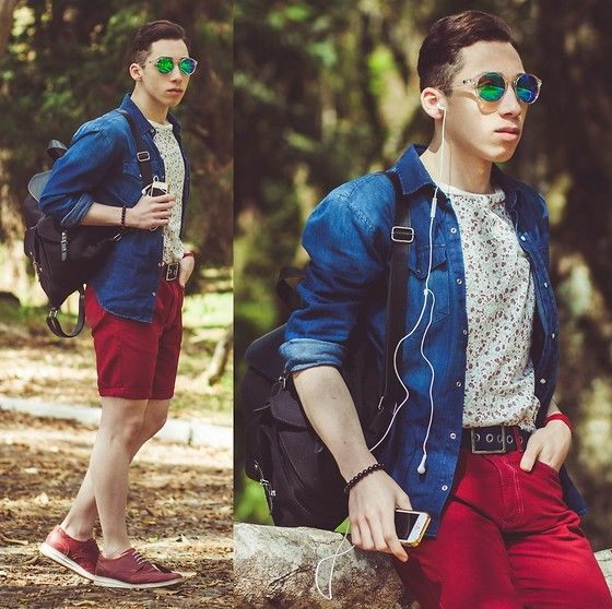 Denim Shirt, Hb Mirrored Sunglasses, Burgundy Shorts, Burgundy Oxford, Colcci Backpack, Saint Matthias Floral T Shirt