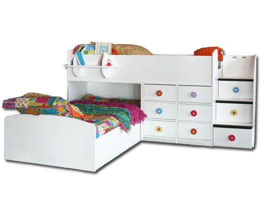 Twin Twin Captains Bed in White
