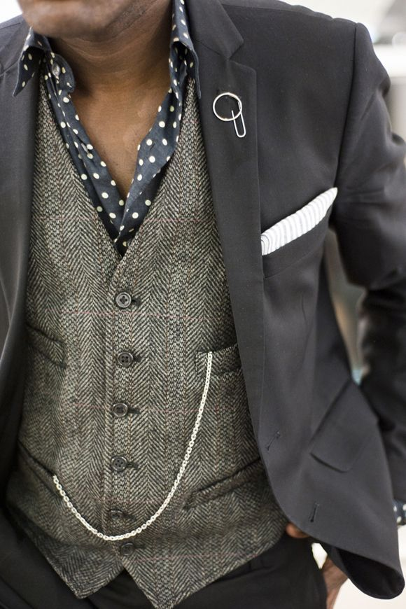 brown dress with white dots - like this look - just went to a wedding where the groom had a chained pocket watch, he looked very dapper indeed!!