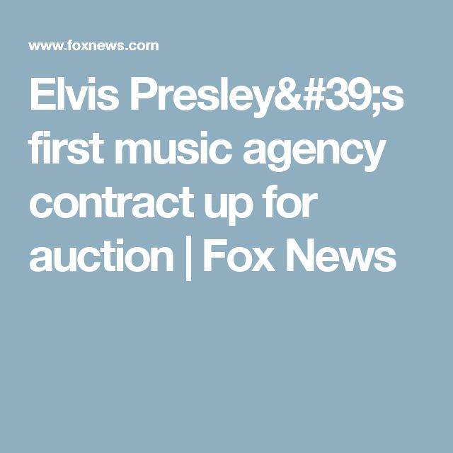 Elvis Presley's first music agency contract up for auction | Fox News