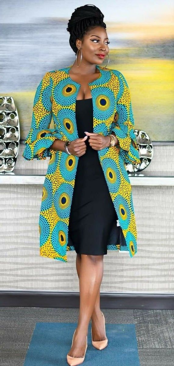 Great Quality-100/% Cotton Wax African Print Kimono Jacket Dress Made In UK