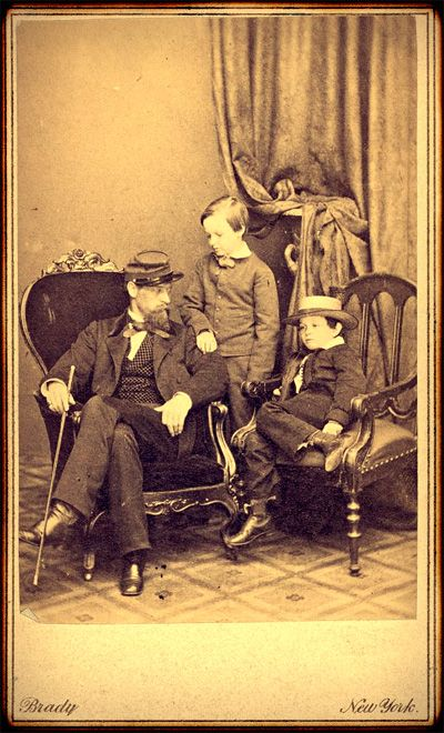 Brady NY cdv Willie and Tad Lincoln, sons of President Abraham Lincoln, with their cousin Lockwood Todd